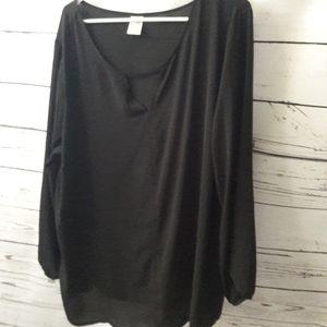🇺🇸 Terra & Sky sz 1X black blouse top